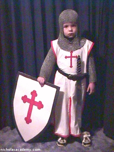 Alex in maille armor with shield and sword
