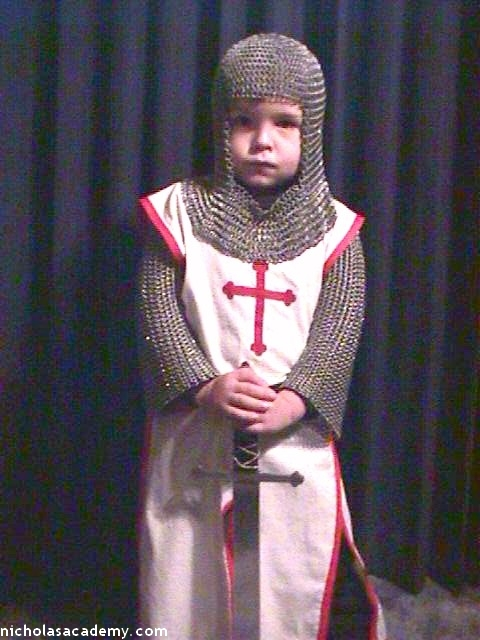 Alex with sword in maille armor coif and hauberk