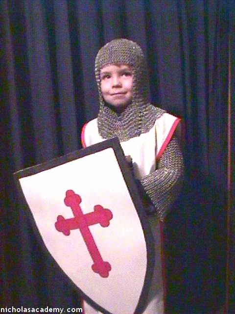 Alex with shield in maille armor coif