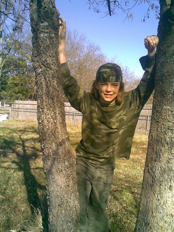 Alex in camouflage